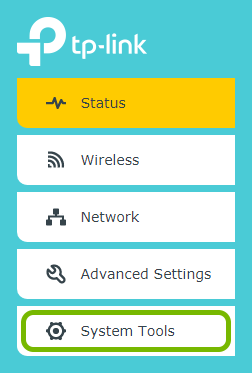 System Tools option highlighted in range extender's web interface.