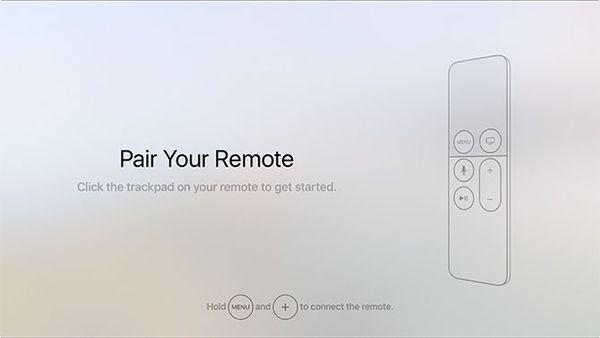 Remote pairing screen during Apple TV setup.