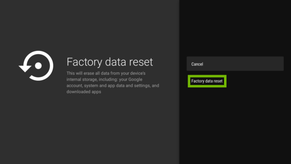 Factory data reset prompt with Factory data reset highlighted.