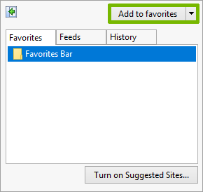 Favorites menu with Add to favorites highlighted.