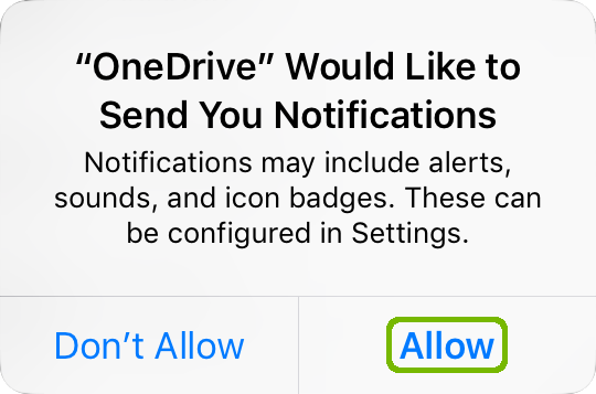 iOS notifications conformation with Allow highlighted.