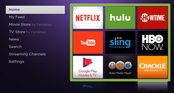 Apps grid highlighted on Roku home screen.