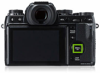 camera with menu button highlighted