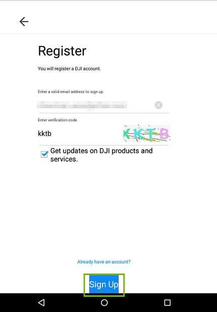 Sign up information. Screenshot