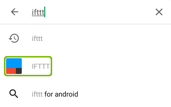 IFTTT search with IFTTT highlighted.