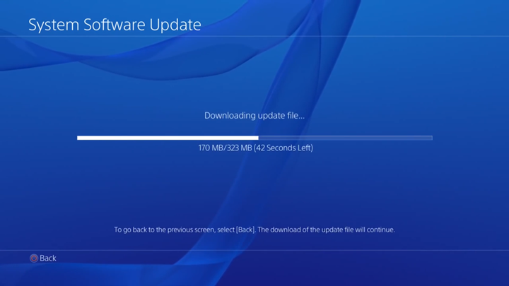 Download in progress on System Software Update screen.