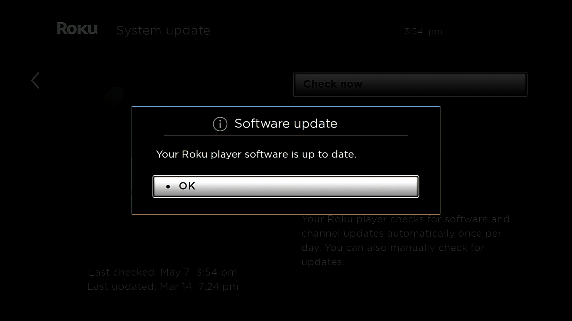 Software update showing the Roku is up to date.