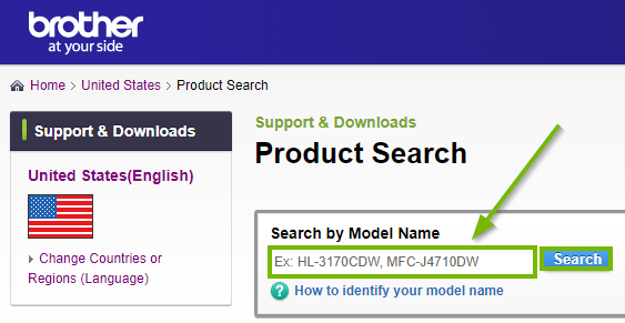 Brother website highlighting the product search box. Screenshot.