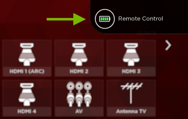Remote battery status on TV screen.