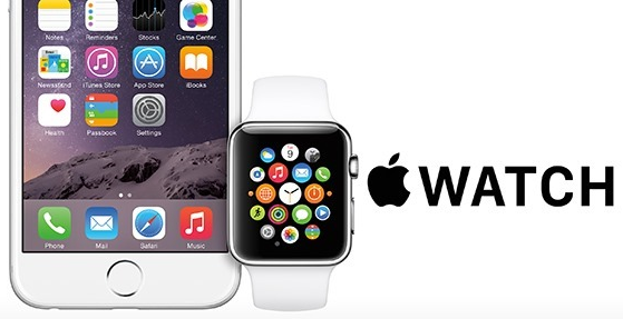 Apple Watch and logo with partial iPhone next to it.