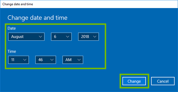 Date and time dialog with date, time, and change button highlighted.