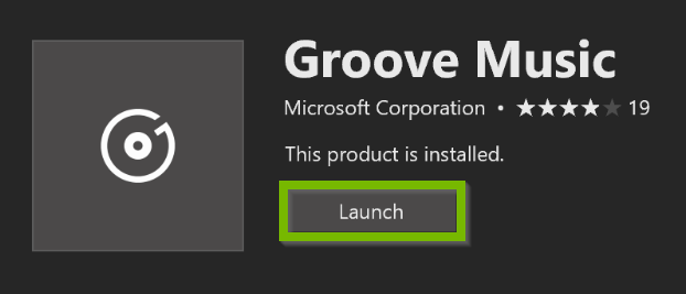 Groove Music app page with Launch highlighted.