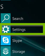 screenshot of all apps with settings highlighted