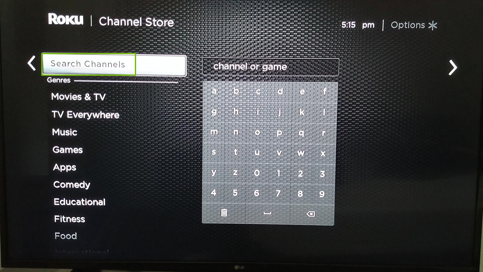 Streaming Channels with search highlighted.