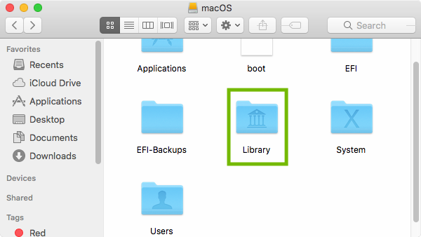 Mac HD with Library highlighted.