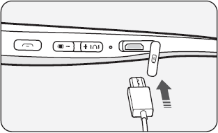 Picture showing where to plug in usb cable into the headset