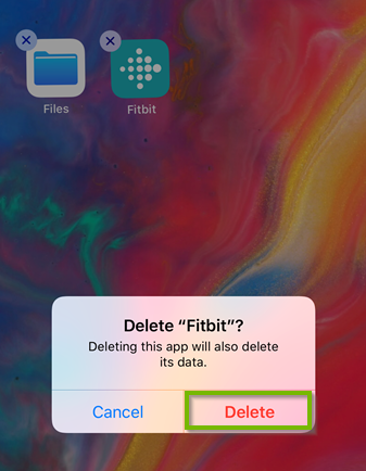 Delete Fitbit popup with Delete button selected. Screenshot.