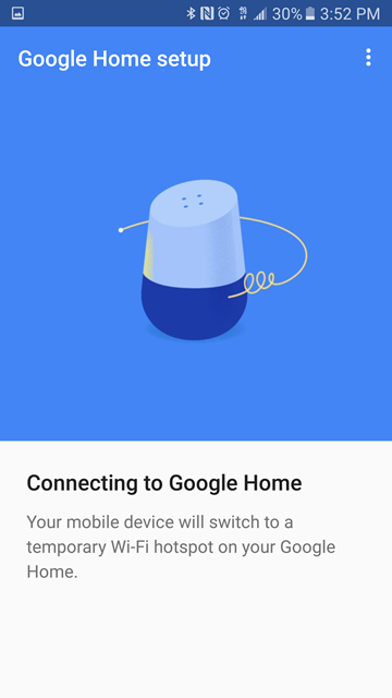 Notification screen about switching Wi-Fi connection