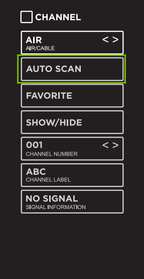 Channel menu with Auto Scan highlighted.