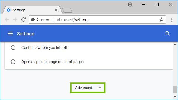 Chrome Settings with Advanced highlighted.