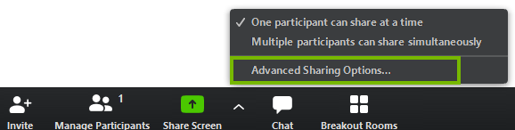 Advanced sharing options in the menu