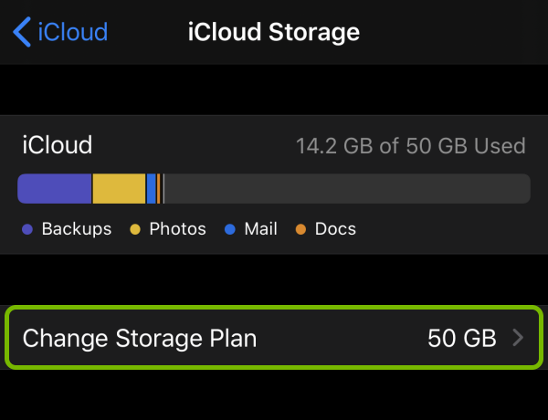 Change Storage Plan option highlighted in iCloud Storage settings on iOS.