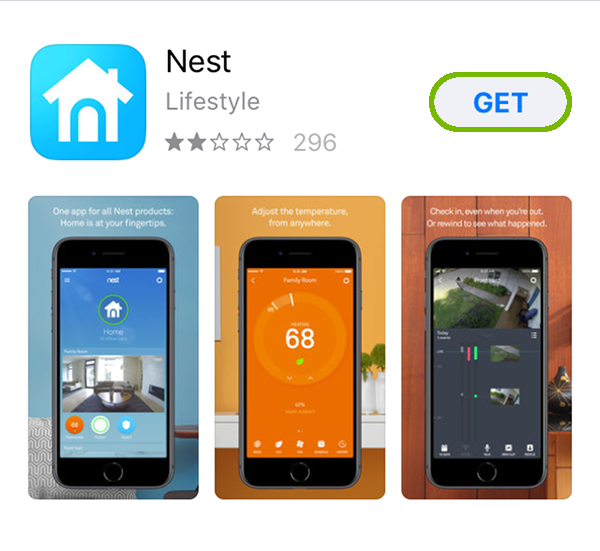 Nest App page with Get highlighted.
