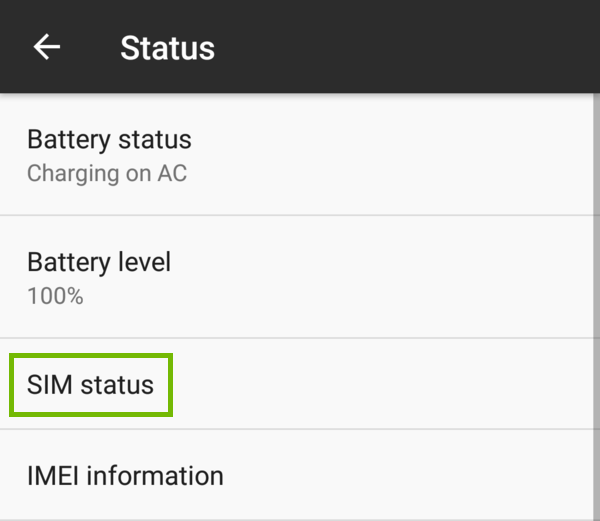 Status with SIM status highlighted.