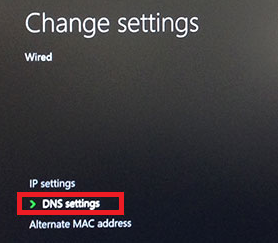 DNS settings highlighted