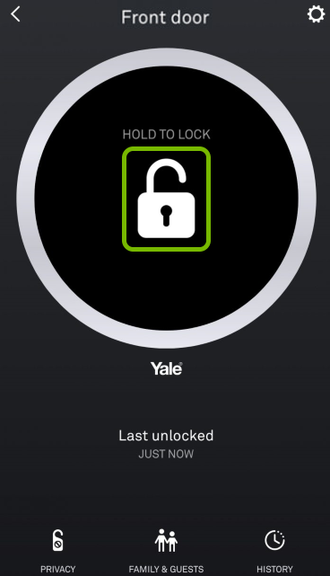 Padlock icon highlighted in Nest app.