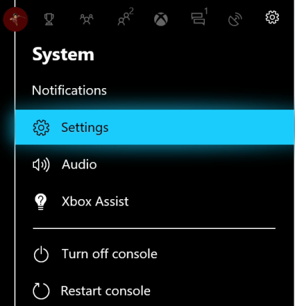 Xbox system menu with Settings highlighted.