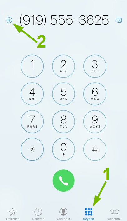 Keypad and Add pointed out in iOS Phone app.