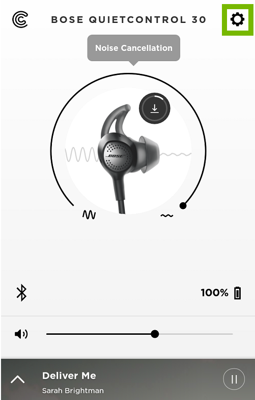 Bose Connect App screen with Settings gear highlighted.
