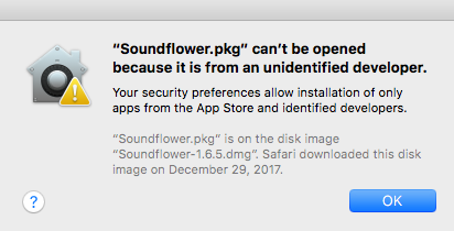 Unidentified developer popup. Screenshot.