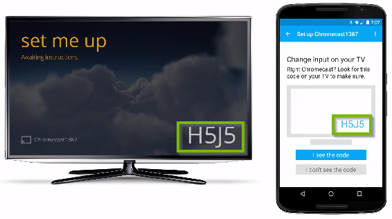 Television and mobile app displaying connection code