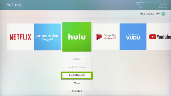 Lock/Unlock option highlighted in Apps Settings on Samsung Smart TV.