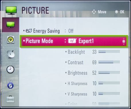 LG Netcast picture menu with picture mode option highlighted.