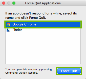 Force Quit with Google Chrome and Force Quit highlighted.