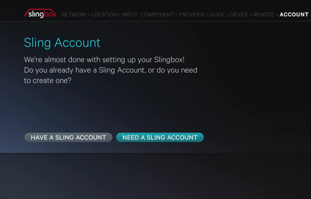 Sling account screen
