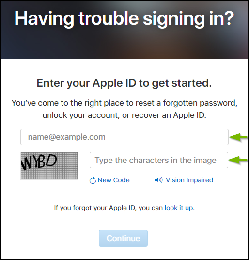 Recover Apple ID. Screenshot