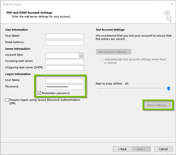 Blank outlook settings focused on log on info