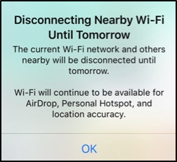 iOS wifi disconnecting pop up