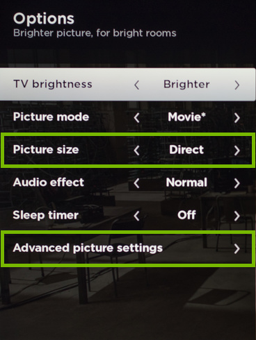 Picture Size and Advanced Picture Settings options highlighted on Options screen.