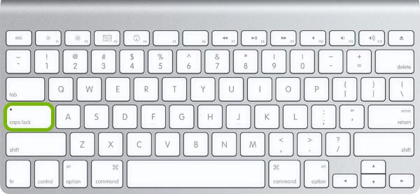 Caps Lock key highlighted on Mac keyboard.