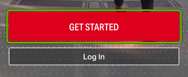 Get Started button highlighted in under Armour Record app.