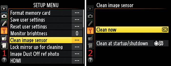 Camera sensor cleaning feature.