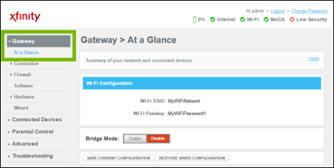 Gateway administration page with Gateway, At a Glance highlighted.