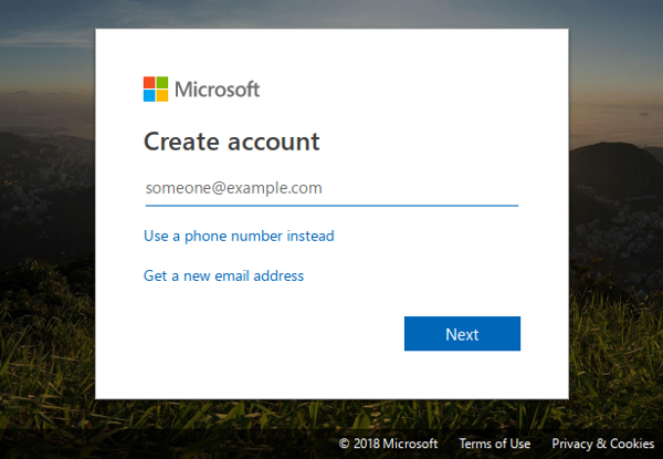 Creating a Microsoft account.
