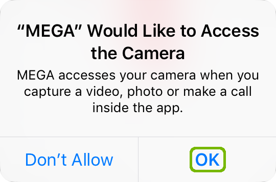 Mega camera access with OK highlighted.