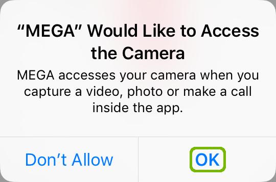Mega camera access with OK highlighted.